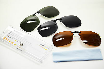Sonnenclip für Brillen Clip On Polarisierend versch.Farben + Tuch + Etui Neu