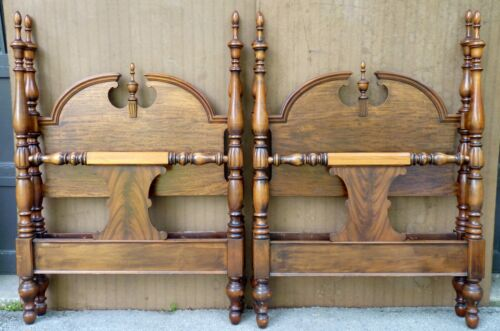 MATCHING PAIR Vintage ROCKFORD CABINET CO Queen Anne Twin Bed Frames beds c1920s