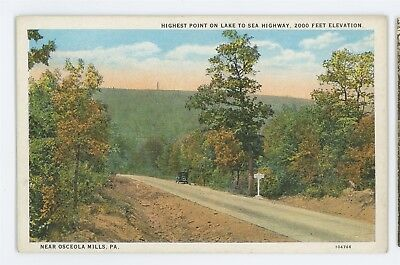 Highest Point On Lake To Sea Highway Osceola Mills Pa Clearfield County Postcard
