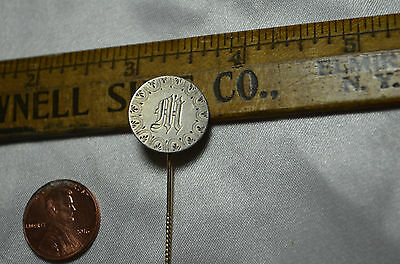1861 Love Token Engraved M on Liberty Seated Half Dime Stick Pin 90% silver