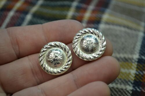 STERLING SILVER Engraved High Domed Mini Concho EARRINGS w/ Rope Border *DRESSY