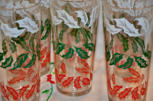 """6 Mid Century Christmas Swanky swigs red, green & white holly leaves 6 1/2"""" tall"""