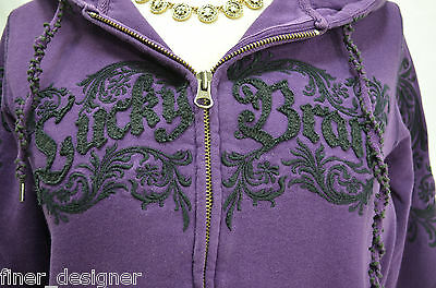 LUCKY BRAND logo Embroidered Hoodie Zip up Sweatshirt JR Size M Sweater Hooded
