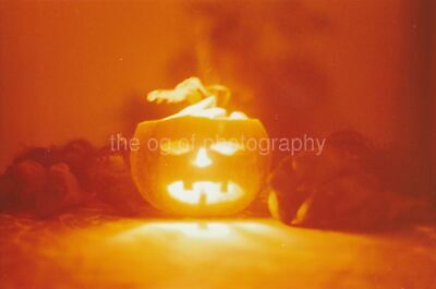 Halloween Pumpkin FOUND PHOTOGRAPH Color FREE SHIPPING Original VINTAGE 94 5 X - Photo Halloween 94