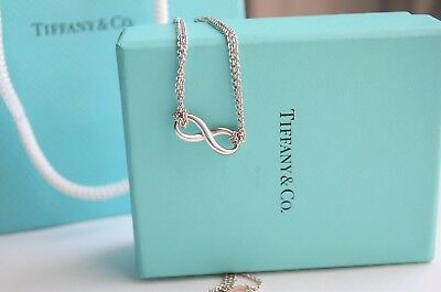 Tiffany & Co Sterling Silver Infinity Pendant Double Chain Necklace w/ Packaging