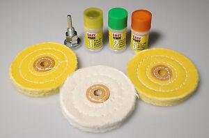 7-tlg. Polierset mit Polierpaste Polierscheiben mit Spanndorn Politur polieren