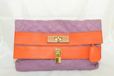 Marc Jacobs Purple Orange Quilted Leather Clutch with Padlock
