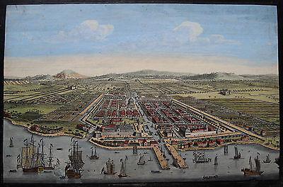 Orig altkol. Guckkastenblatt Jakarta Batavia Indonesien Asien Vue d'optique 1754