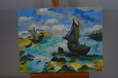 ANTIQUE PAINTING CANVAS PAINTING SIGN TRAMIM PAINTER RUSSIAN