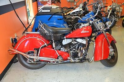 1947 Indian Chief  1947 Red Indian Chief Fully Restored Museum Quality 11,527 Miles Very Rare Find!