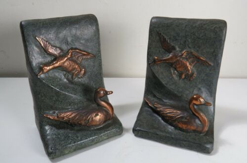 Copper Kraft Cast Metal Duck Bookends - High Relief w/ Applied Patina