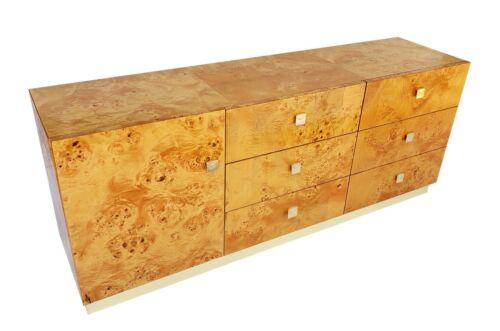 Founders Thomasville Burl Wood & Brass Credenza Sideboard Dresser Baughman 70