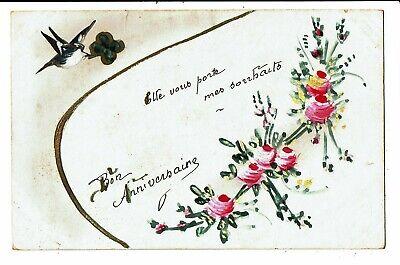 CPA-Carte Postale-France- Bon anniversaire avec un oiseau et un trèfle
