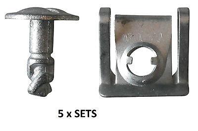 5 x Sets Under Engine Cover Undertray Fitting Clip Kit Metal Screw Audi VW Skoda