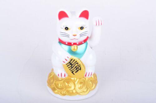 """5"""" Tall Fortune Lucky Gold Cat Kitten Feng Shui Wealth Waving Maneki Beckoning"""