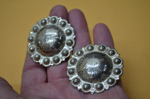 2 Vintage Mexican Alpaca large Berry bead Engraved Conchos for Chaps & Saddles