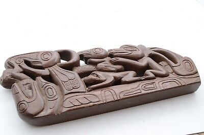 Northwest Coast First Nations native wooden Art carved wall panel Alaskan totem