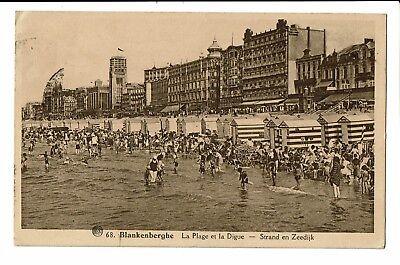CPA - Carte Postale - BELGIQUE - Blankenberge - Sa Plage et la Digue-1945- S3081