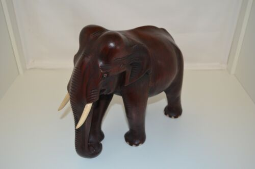 "Large Handmade Wood Elephant Measuring 12"" Long x 10"" Tall x 5"" Wide"