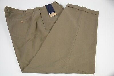 New Nautica Men's Pants Slacks Sz 44 Khaki Pleated Cotton Blend 44x32 Casual
