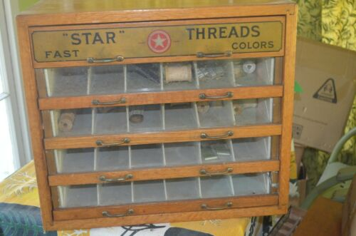 Star Thread Cabinet Spool Glass Front Advertising Display 5 Drawer Golden OAK