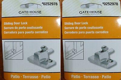 (2x Gatehouse Patio Spring-Loaded Bolt Action Sliding Door Lock, Model # U9866-L)