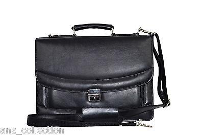 - Deluxe Black Messenger Shoulder Laptop Office Flapover Briefcase Leather Bag