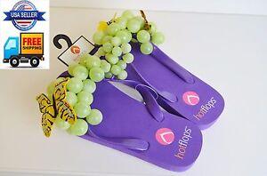 Hotflops Flip Flops Beach Sandals Thong Purple w/ Green grapes. size 10 - 11