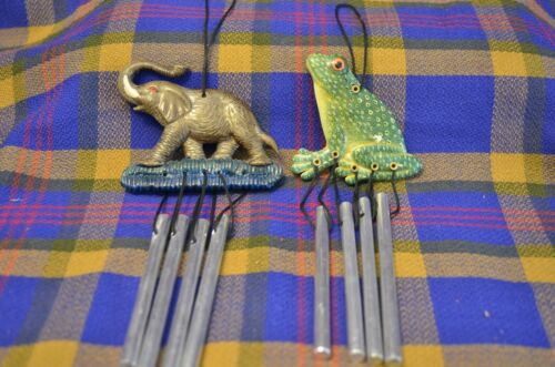 Pair of Miniature Wind Chimes w/4 Metal Pipes-Elephant & Frog Headers