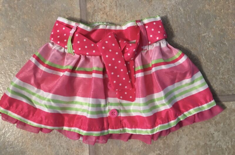 Young Hearts Girl's Size 3T Bright Pink Striped Skort With Polka Dot Belt