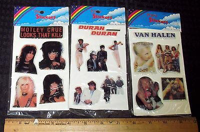 1980S VINTAGE PUFFY STICKER LOT (3) SEALED PKG VAN HALEN DURAN DURAN MOTLEY CRUE