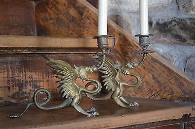 2 antike Kerzenleuchter Drachen Fabeltier 19Jh Messingguss antique candle holder