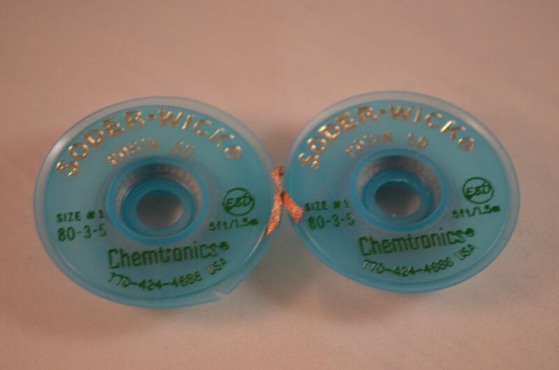 2x ORIGINAL Chemtronics-80-3-5-Braid,Desoldering,Rosin SD ,5Ft