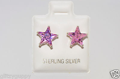 Sterling Silver STAR Earrings Pink Tourmaline CZ October Birthstone Studs Cubic