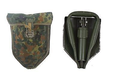 Original  Bundeswehr  Klappspaten, Spaten, Pickel, BW Spaten mit Flecktarnhülle