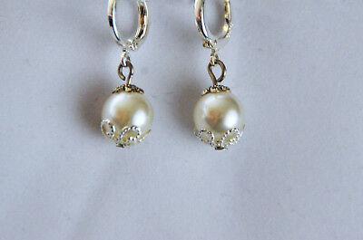 Ohrringe Elfenbein Perlen Selbstgemacht 925 Silber  - Perle Silber Beine