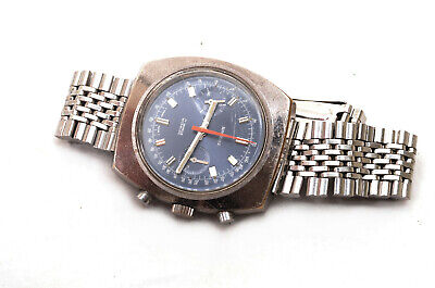 Vintage 1970's Sandoz Chronograph Bracelet Wrist Watch Landeron Cal 248