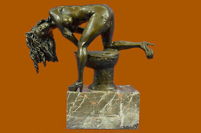 Signed Abstract Modern Art Nude Girl O Statue Figurine Bronze Sculpture Figure