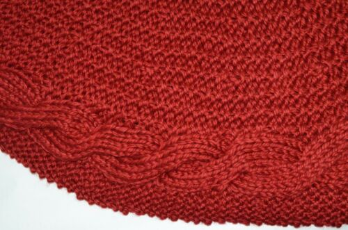 """Pottery Barn Chunky Cable Knit Red Christmas Tree Skirt 52"""" NEW w/ Tag"""