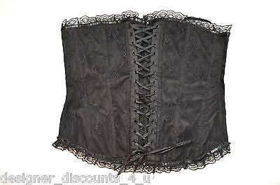 Shirley Of Hollywood Lace Tie (NEW Shirley of Hollywood Black lace tie up sequin Bustier sexy fun flirty SIZE)