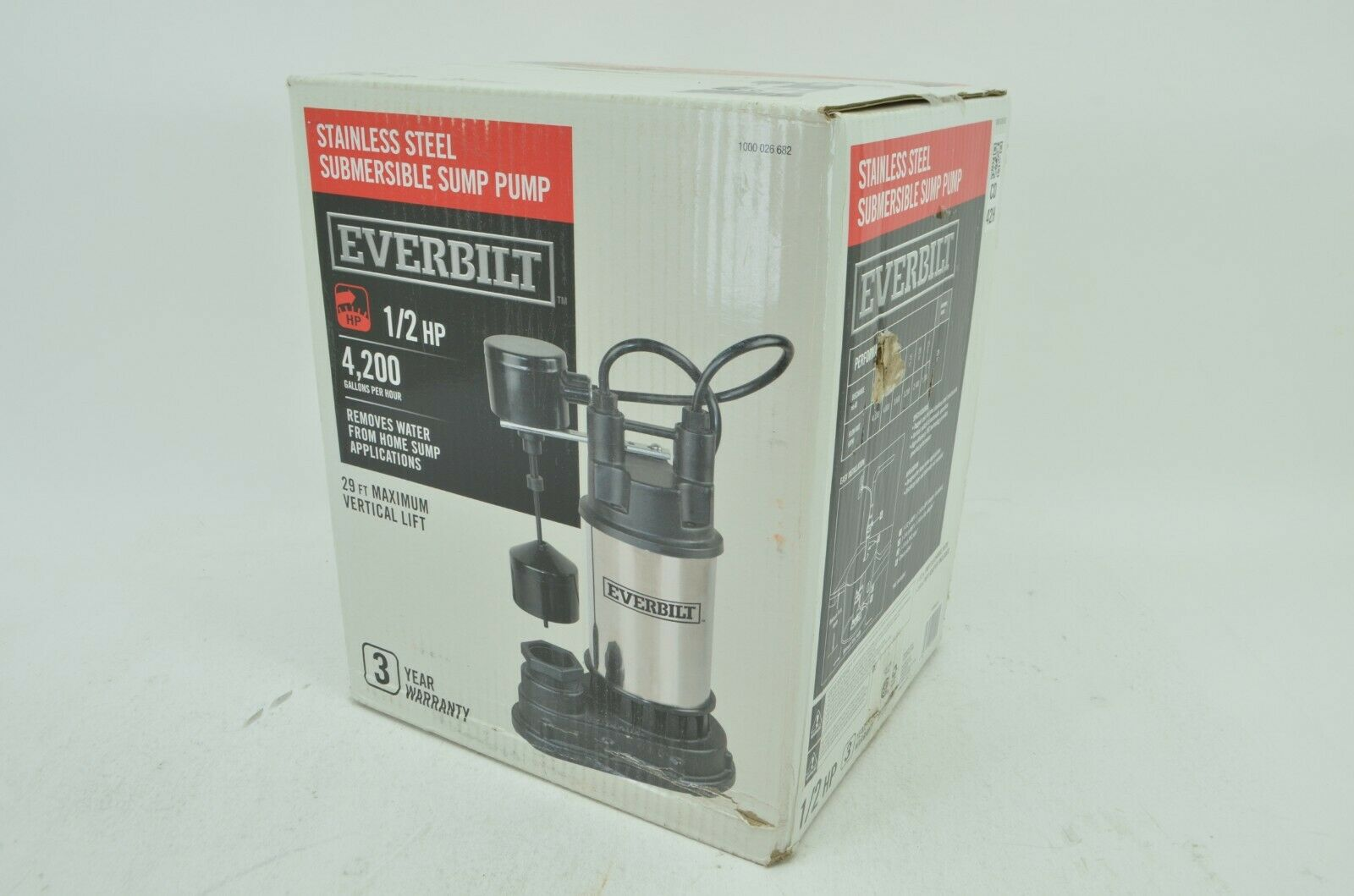 Everbilt 1/2 HP Submersible Stainless Steel Sump Pump