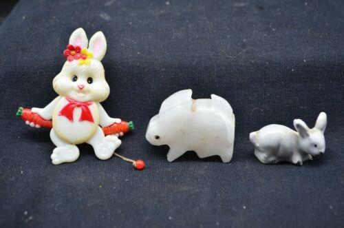 3Vtg Miniature Rabbit Figures-White Alabaster,Moveable Pin&Gray-Fairy Garden