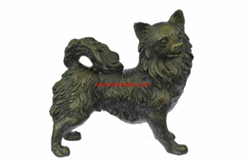 """Pomeranian or Long Haired Chihuahua Bronze Dog Sculpture 7"""" x 9"""""""