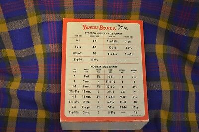 Vintage BUSTER BROWN HOSIERY Size Chart-Children's sizez 3-11-L Shaped-USA Hosiery Size Chart