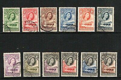 1955 QEII Bechuanaland definitive full set of 12, including 4d orange used