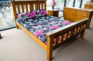 BED QUEEN SLAT TIMBER FRAME BEDROOM BUNYA OAK RRP $1199.00 BRAND NEW CLEARANCE