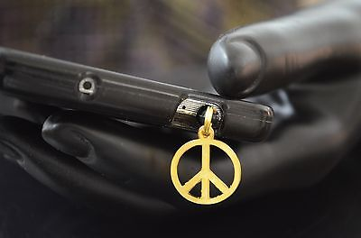 Used, New Gold Peace Charm Cell Phone Smart Phone Dust Plug  for sale  Shipping to India