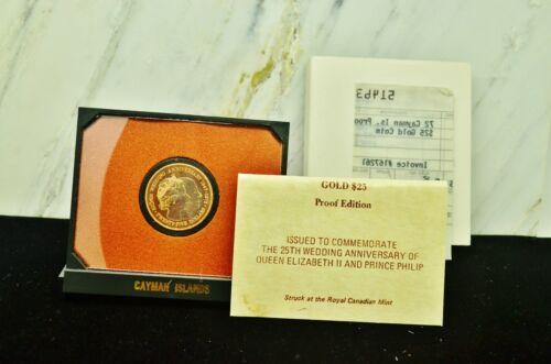 1972 CAYMAN ISLANDS $25 GOLD PROOF 25TH ANNIVERSARY QUEEN ELIZABETH II & PHILIP