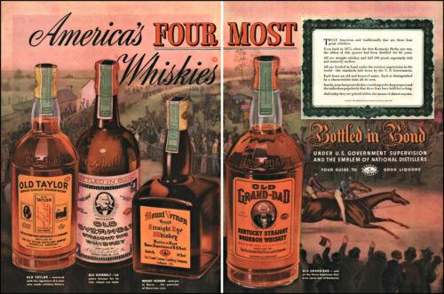 1938 Kentucky Derby Old Overholt Odl Taylor Bourbon Rye vintage art print ad L31
