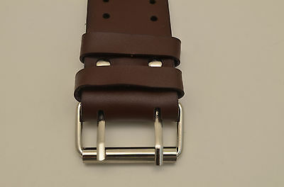 Brown wide Leather Watch Band STRAP Buckle Punk Rock Skaters cuff